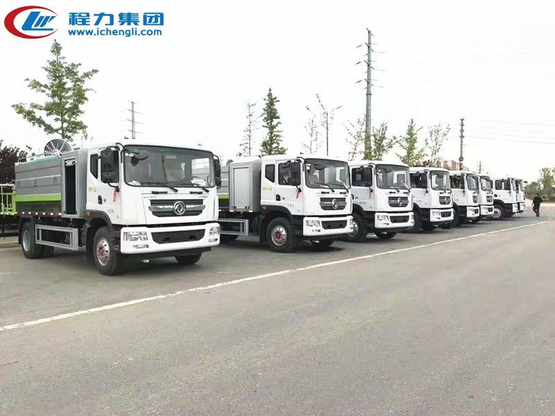 客户订购东风D9多利卡12吨雾炮车批量发车